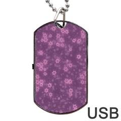 Snow Stars Lilac Dog Tag USB Flash (One Side)