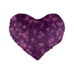 Snow Stars Lilac Standard 16  Premium Flano Heart Shape Cushions