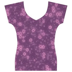 Snow Stars Lilac Women s V-Neck Cap Sleeve Top