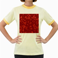 Snow Stars Red Women s Fitted Ringer T-Shirts