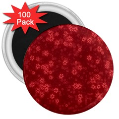Snow Stars Red 3  Magnets (100 Pack)