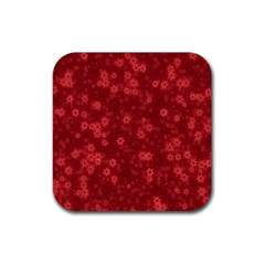 Snow Stars Red Rubber Square Coaster (4 pack)