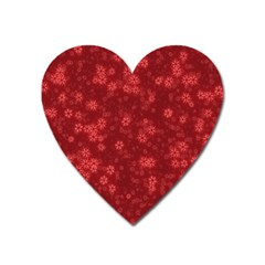 Snow Stars Red Heart Magnet
