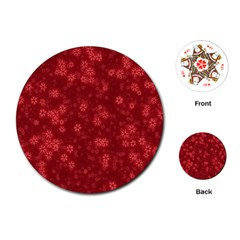 Snow Stars Red Playing Cards (Round)