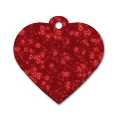 Snow Stars Red Dog Tag Heart (One Side)