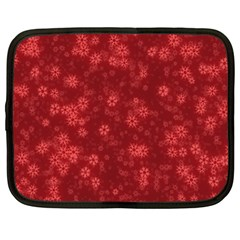 Snow Stars Red Netbook Case (Large)