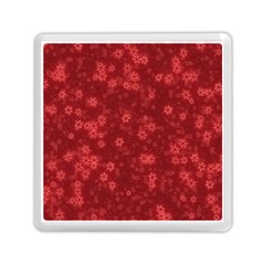 Snow Stars Red Memory Card Reader (square)