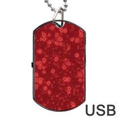 Snow Stars Red Dog Tag Usb Flash (one Side)