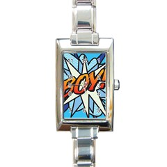 Comic Book Boy!  Rectangle Italian Charm Watches