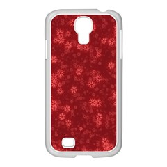 Snow Stars Red Samsung GALAXY S4 I9500/ I9505 Case (White)