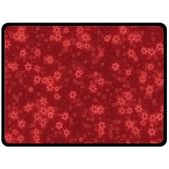 Snow Stars Red Double Sided Fleece Blanket (Large)
