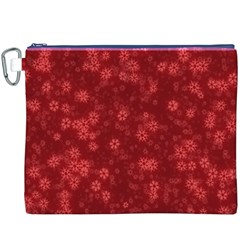 Snow Stars Red Canvas Cosmetic Bag (XXXL)