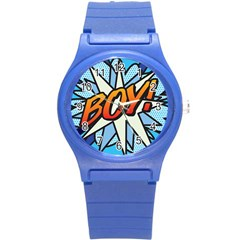 Comic Book Boy!  Round Plastic Sport Watch (S)