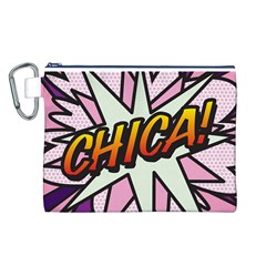 Comic Book Chica!  Canvas Cosmetic Bag (l)