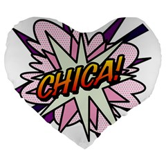 Comic Book Chica! Large 19  Premium Flano Heart Shape Cushions