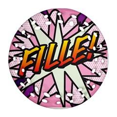 Comic Book Fille! Ornament (round Filigree)