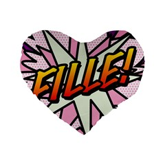 Comic Book Fille! Standard 16  Premium Heart Shape Cushions