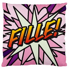 Comic Book Fille! Standard Flano Cushion Cases (One Side)