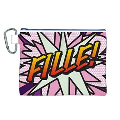 Comic Book Fille! Canvas Cosmetic Bag (L)