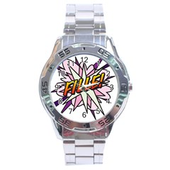 Comic Book Fille! Stainless Steel Men s Watch