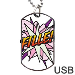Comic Book Fille! Dog Tag USB Flash (One Side)
