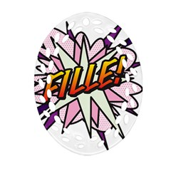 Comic Book Fille! Oval Filigree Ornament (2-Side)