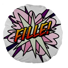 Comic Book Fille! Large 18  Premium Round Cushions