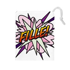 Comic Book Fille! Drawstring Pouches (Large)