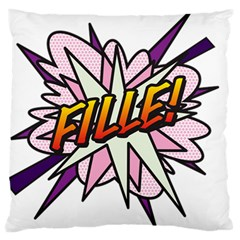 Comic Book Fille! Large Flano Cushion Cases (One Side)
