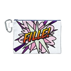 Comic Book Fille! Canvas Cosmetic Bag (m)