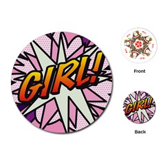 Comic Book Girl!  Playing Cards (Round)