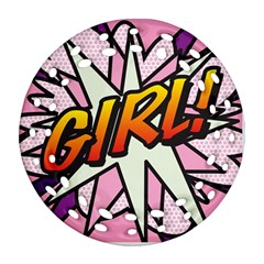 Comic Book Girl!  Round Filigree Ornament (2side)