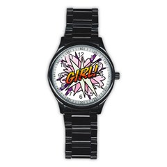 Comic Book Girl!  Stainless Steel Round Watches