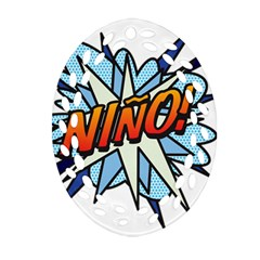 Comic Book Nino! Ornament (Oval Filigree)