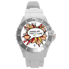 Hands Off Round Plastic Sport Watch (L)