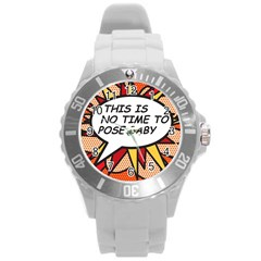 Comic Book This Is No Time To Pose Baby Round Plastic Sport Watch (L)