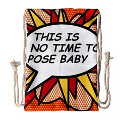 Comic Book This Is No Time To Pose Baby Drawstring Bag (Large)