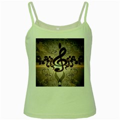 Music, Wonderful Clef With Floral Elements Green Spaghetti Tanks
