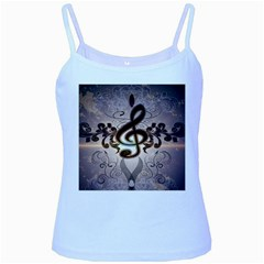 Music, Wonderful Clef With Floral Elements Baby Blue Spaghetti Tanks