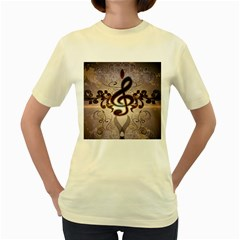 Music, Wonderful Clef With Floral Elements Women s Yellow T Shirt