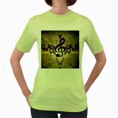 Music, Wonderful Clef With Floral Elements Women s Green T-Shirt