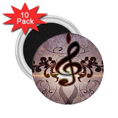 Music, Wonderful Clef With Floral Elements 2 25  Magnets (10 Pack)