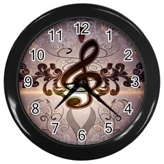 Music, Wonderful Clef With Floral Elements Wall Clocks (Black)