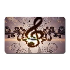 Music, Wonderful Clef With Floral Elements Magnet (Rectangular)