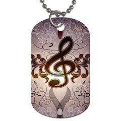 Music, Wonderful Clef With Floral Elements Dog Tag (One Side)