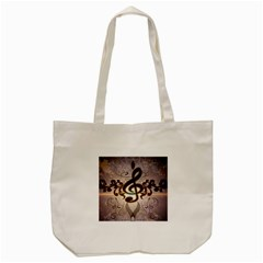 Music, Wonderful Clef With Floral Elements Tote Bag (Cream)