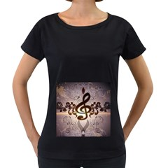 Music, Wonderful Clef With Floral Elements Women s Loose Fit T Shirt (black)