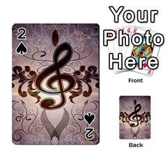 Music, Wonderful Clef With Floral Elements Playing Cards 54 Designs