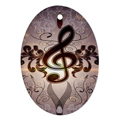Music, Wonderful Clef With Floral Elements Oval Ornament (Two Sides)
