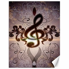 Music, Wonderful Clef With Floral Elements Canvas 18  X 24